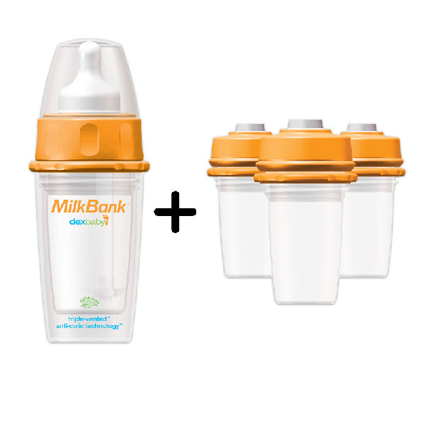 DEXBABY MilkBank 4.5oz Insulated Feeding Bottle Complete Combo