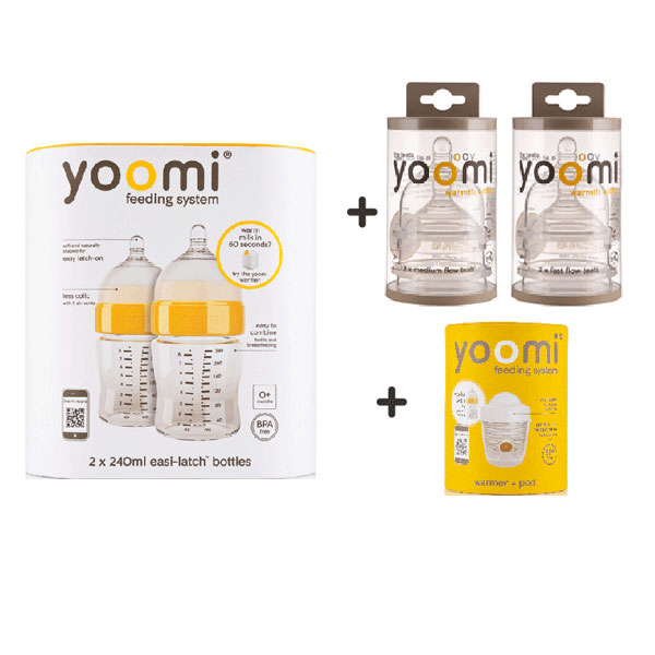 YOOMI Twin-Pack 240ml Easi-Latch Bottles Complete Combo Set
